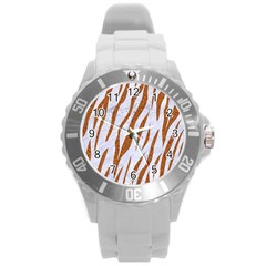 Skin3 White Marble & Rusted Metal (r) Round Plastic Sport Watch (l)