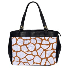 Skin1 White Marble & Rusted Metal Office Handbags (2 Sides)