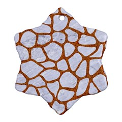 Skin1 White Marble & Rusted Metal Ornament (snowflake)