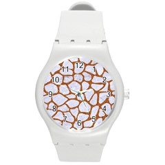 Skin1 White Marble & Rusted Metal Round Plastic Sport Watch (m)