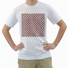 Scales3 White Marble & Rusted Metal (r) Men s T Shirt (white) (two Sided)