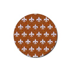 Royal1 White Marble & Rusted Metal (r) Rubber Round Coaster (4 Pack)