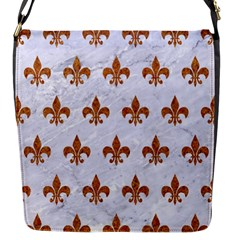Royal1 White Marble & Rusted Metal Flap Messenger Bag (s)