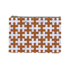Puzzle1 White Marble & Rusted Metal Cosmetic Bag (large)