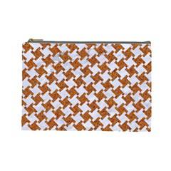Houndstooth2 White Marble & Rusted Metal Cosmetic Bag (large)