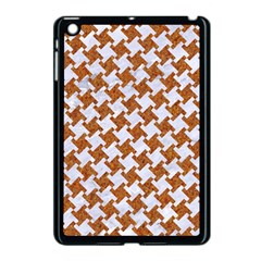 Houndstooth2 White Marble & Rusted Metal Apple Ipad Mini Case (black)