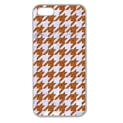 Houndstooth1 White Marble & Rusted Metal Apple Seamless Iphone 5 Case (clear)