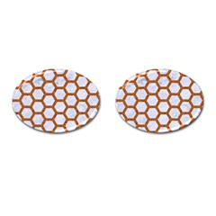 Hexagon2 White Marble & Rusted Metal (r) Cufflinks (oval)