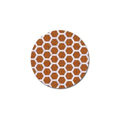 Hexagon2 White Marble & Rusted Metal Golf Ball Marker