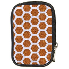 Hexagon2 White Marble & Rusted Metal Compact Camera Cases