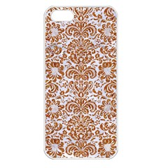 Damask2 White Marble & Rusted Metal (r) Apple Iphone 5 Seamless Case (white)