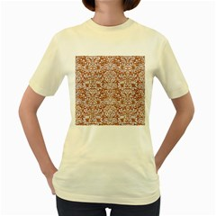 Damask2 White Marble & Rusted Metal Women s Yellow T Shirt