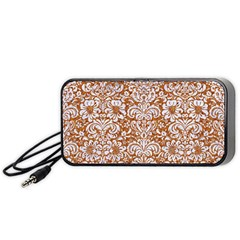 Damask2 White Marble & Rusted Metal Portable Speaker