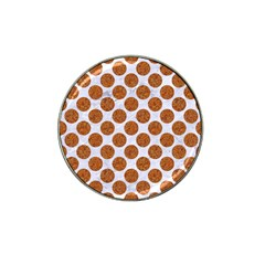 Circles2 White Marble & Rusted Metal (r) Hat Clip Ball Marker (4 Pack)