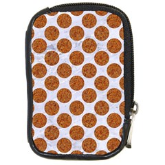 Circles2 White Marble & Rusted Metal (r) Compact Camera Cases