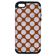 Circles2 White Marble & Rusted Metal Apple Iphone 5 Hardshell Case (pc+silicone)