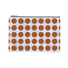 Circles1 White Marble & Rusted Metal (r) Cosmetic Bag (large)