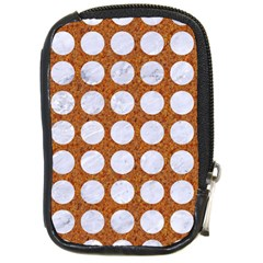 Circles1 White Marble & Rusted Metal Compact Camera Cases