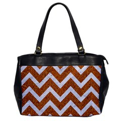 Chevron9 White Marble & Rusted Metal Office Handbags