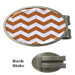 Chevron3 White Marble & Rusted Metal Money Clips (oval)