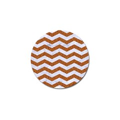 Chevron3 White Marble & Rusted Metal Golf Ball Marker