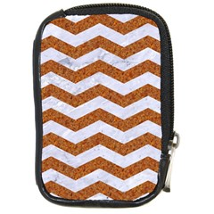 Chevron3 White Marble & Rusted Metal Compact Camera Cases