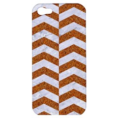 Chevron2 White Marble & Rusted Metal Apple Iphone 5 Hardshell Case