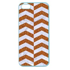 Chevron2 White Marble & Rusted Metal Apple Seamless Iphone 5 Case (color)