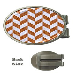 Chevron1 White Marble & Rusted Metal Money Clips (oval)