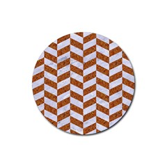 Chevron1 White Marble & Rusted Metal Rubber Round Coaster (4 Pack)