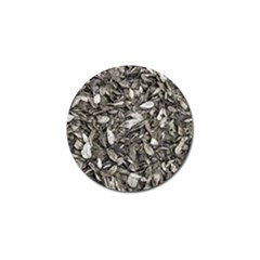 Black And White Leaves Pattern Golf Ball Marker
