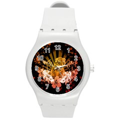 Cute Little Tiger With Flowers Round Plastic Sport Watch (m)