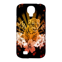 Cute Little Tiger With Flowers Samsung Galaxy S4 Classic Hardshell Case (pc+silicone)