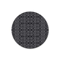 Black And White Tribal Print Rubber Round Coaster (4 Pack)
