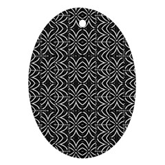 Black And White Tribal Print Oval Ornament (two Sides)