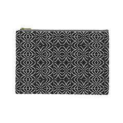 Black And White Tribal Print Cosmetic Bag (large)