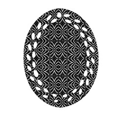 Black And White Tribal Print Oval Filigree Ornament (two Sides)