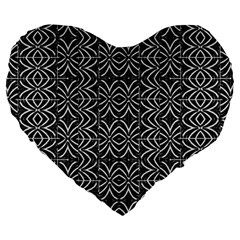 Black And White Tribal Print Large 19  Premium Heart Shape Cushions