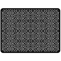Black And White Tribal Print Double Sided Fleece Blanket (large)