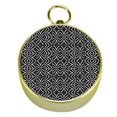 Black And White Tribal Print Gold Compasses