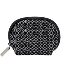 Black And White Tribal Print Accessory Pouches (small)