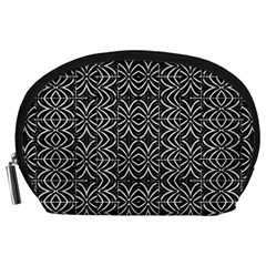 Black And White Tribal Print Accessory Pouches (large)