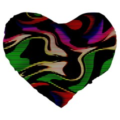 Hot Abstraction With Lines 1 Large 19  Premium Flano Heart Shape Cushions