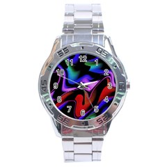 Hot Abstraction With Lines 2 Stainless Steel Analogue Watch