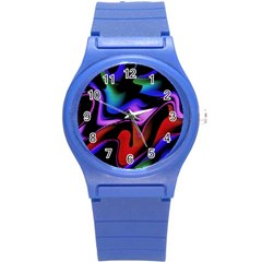 Hot Abstraction With Lines 2 Round Plastic Sport Watch (s)