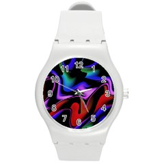 Hot Abstraction With Lines 2 Round Plastic Sport Watch (m)