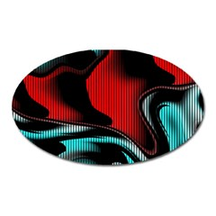 Hot Abstraction With Lines 3 Oval Magnet