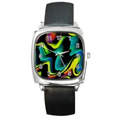 Hot Abstraction With Lines 4 Square Metal Watch