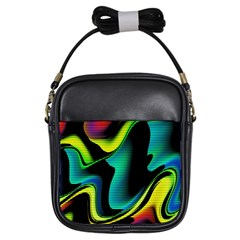 Hot Abstraction With Lines 4 Girls Sling Bags