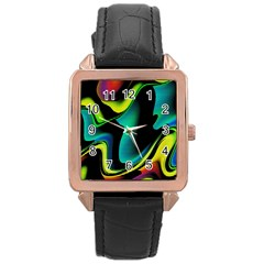 Hot Abstraction With Lines 4 Rose Gold Leather Watch